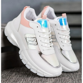 SHELOVET Modne Sneakersy Z Eko Skóry białe wielokolorowe 3