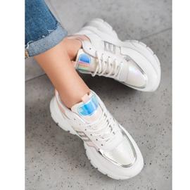 SHELOVET Modne Sneakersy Z Eko Skóry białe wielokolorowe 1