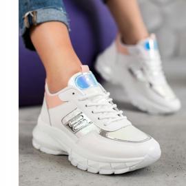 SHELOVET Modne Sneakersy Z Eko Skóry białe wielokolorowe 2