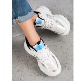 SHELOVET Modne Sneakersy Z Eko Skóry białe czarne wielokolorowe 1