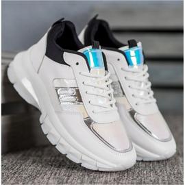 SHELOVET Modne Sneakersy Z Eko Skóry białe czarne wielokolorowe 4
