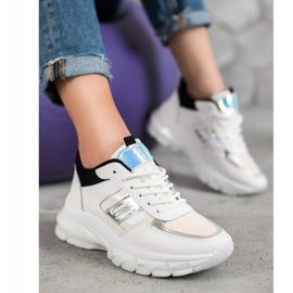 SHELOVET Modne Sneakersy Z Eko Skóry białe czarne wielokolorowe 5