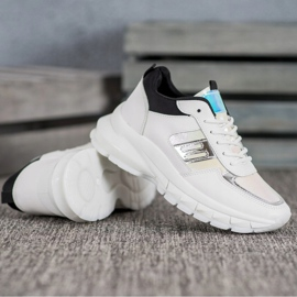 SHELOVET Modne Sneakersy Z Eko Skóry białe czarne wielokolorowe 3