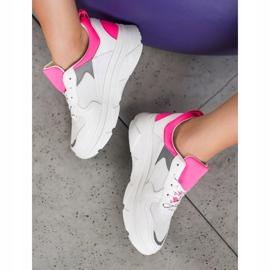 SHELOVET Casualowe Sneakersy Z Eko Skóry białe różowe 1