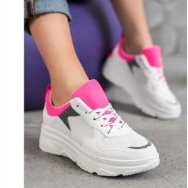 SHELOVET Casualowe Sneakersy Z Eko Skóry białe różowe 4