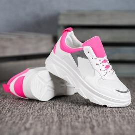 SHELOVET Casualowe Sneakersy Z Eko Skóry białe różowe 2