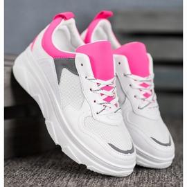 SHELOVET Casualowe Sneakersy Z Eko Skóry białe różowe 3