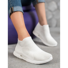 SHELOVET Tekstylne Buty Slip On białe 4