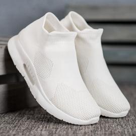 SHELOVET Tekstylne Buty Slip On białe 2