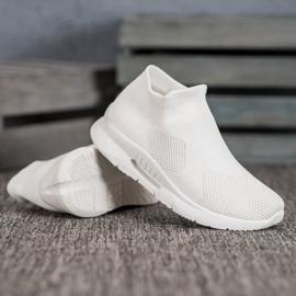 SHELOVET Tekstylne Buty Slip On białe 3