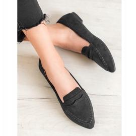 Best Shoes Zamszowe Mokasyny W Szpic czarne 1