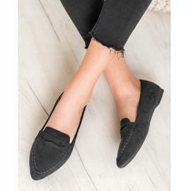 Best Shoes Zamszowe Mokasyny W Szpic czarne 2