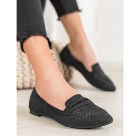 Best Shoes Zamszowe Mokasyny W Szpic czarne 6