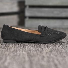 Best Shoes Zamszowe Mokasyny W Szpic czarne 3