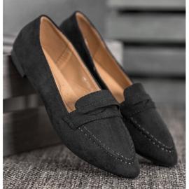 Best Shoes Zamszowe Mokasyny W Szpic czarne 4