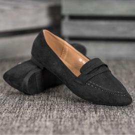 Best Shoes Zamszowe Mokasyny W Szpic czarne 5