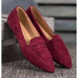 Best Shoes Zamszowe Mokasyny W Szpic czerwone 3