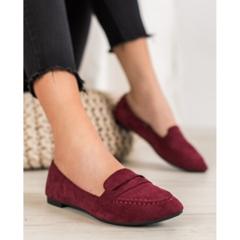 Best Shoes Zamszowe Mokasyny W Szpic czerwone 4