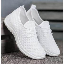 SHELOVET Białe Ażurkowe Buty Sportowe 3