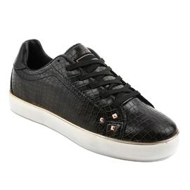 Czarne stylowe trampki damskie 6173-Y 1