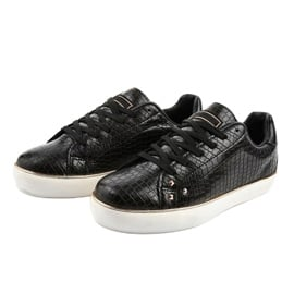 Czarne stylowe trampki damskie 6173-Y 2