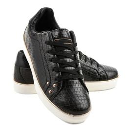 Czarne stylowe trampki damskie 6173-Y 3