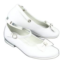 Balerinki komunijne białe Miko 806 szare 6