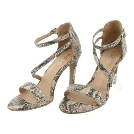 Sandały skórzane na szpilce Edeo 3344 wąż/beż beżowy szare 3