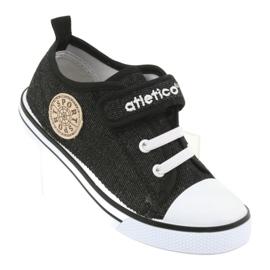 Trampki z wkładką skórzaną jeans Atletico BSM029 czarne 1