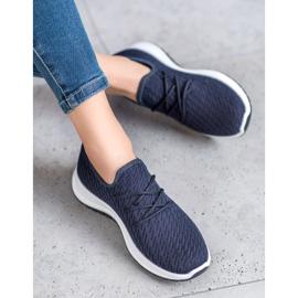SHELOVET Granatowe Ażurkowe Buty Sportowe niebieskie 3