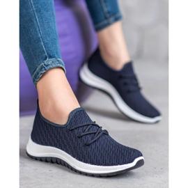 SHELOVET Granatowe Ażurkowe Buty Sportowe niebieskie 2