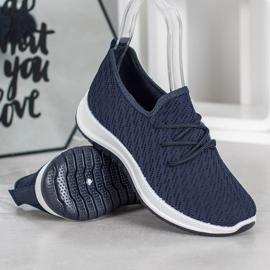 SHELOVET Granatowe Ażurkowe Buty Sportowe niebieskie 1