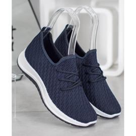 SHELOVET Granatowe Ażurkowe Buty Sportowe niebieskie 4