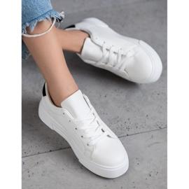 SHELOVET Buty Sportowe Z Eko Skóry białe 2
