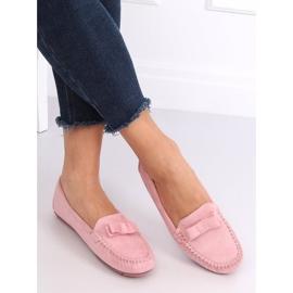 Mokasyny zamszowe różowe 9F150 Pink 2