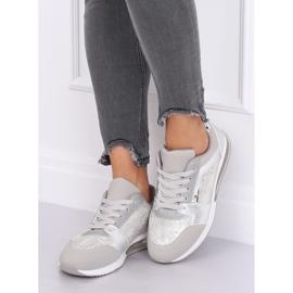 Buty sportowe damskie srebrne BL206 Silver szare 3