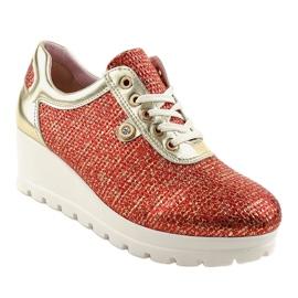 Czerwone Modne Sneakersy na koturnie JFL663-3 1
