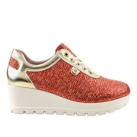 Czerwone Modne Sneakersy na koturnie JFL663-3 2