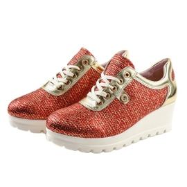 Czerwone Modne Sneakersy na koturnie JFL663-3 3