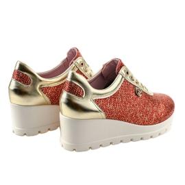 Czerwone Modne Sneakersy na koturnie JFL663-3 4