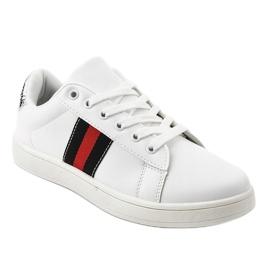 Białe klasyczne tenisówki D1903-319 czarne czerwone 1