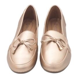 Złote mokasyny balerinki z eko-skóry 9F175 złoty 1