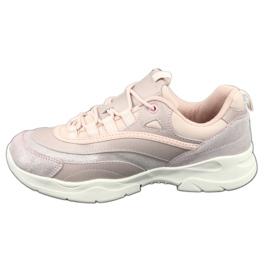 Sportowe buty damskie Filippo 1411 różowe srebrny 2