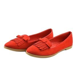 Czerwone mokasyny lordsy z eko-zamszu 2358 3