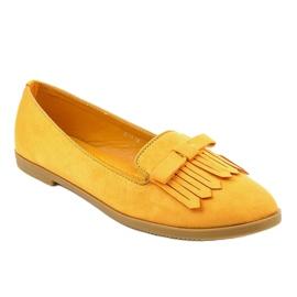 Żółte mokasyny lordsy z eko-zamszu 2358 1