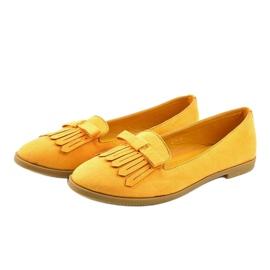Żółte mokasyny lordsy z eko-zamszu 2358 2