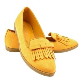 Żółte mokasyny lordsy z eko-zamszu 2358 3
