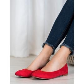 Best Shoes Zamszowe Baleriny czerwone 2