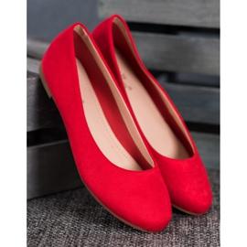 Best Shoes Zamszowe Baleriny czerwone 3