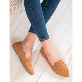 Best Shoes Zamszowe Mokasyny W Szpic brązowe 2